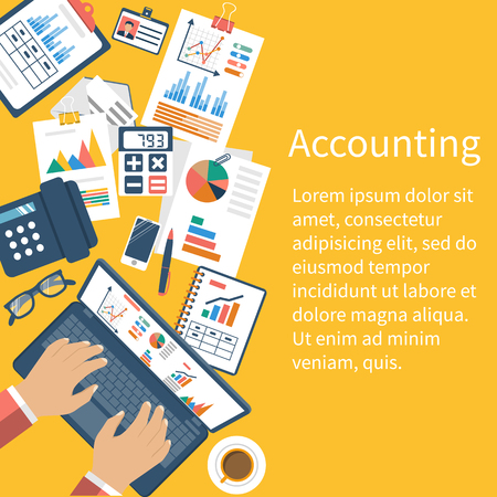 Accounting concept. Organization process, analytics, research, planning, report, market analysis. Flat style vector. Desk with the documents. Stock Illustratie