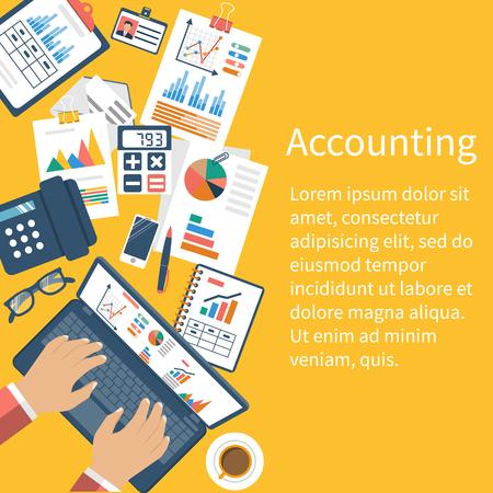 contabilidad financiera cuentas: Concepto de estadísticas. proceso de organización, análisis, investigación, planificación, informes, análisis de mercado. vector de estilo plano. Escritorio con los documentos.