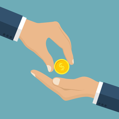 charity  symbol: Businessman gives man a gold coin. Receiving money. Transfer of cash from hand to hand. Giving coin. Concept financial giving. Coin in hand. Vector illustration, flat style design. Illustration