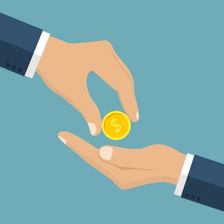 Homme d'affaires donne à l'homme une pièce d'or. Recevoir de l'argent. Transfert d'argent de la main à la main. Donner pièce. dons financiers Concept. Coin en main. Vector illustration, style design plat.
