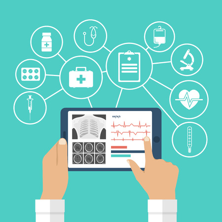 doctor tablet: The tablet in hands of doctor. Innovative technologies in medicine. The modern doctor. Tablet computer with virtual interface, icons medical. Vector illustration, flat design.