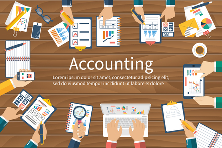 Accounting. Vector flat design. Teamwork on accounting, planning strategy, analysis, marketing research, financial management. Business meeting, teamwork, brainstorming. Team of businessmen in work.