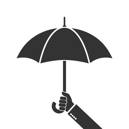 weatherproof: Hand of man holding an umbrella. Vector illustration. Umbrella icon.