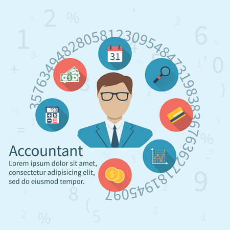 Accountant, businessman. Set icons flat design. Concept of accounting and calculation. Vector illustration. Man working with finances, reports, statistical, analysis, calculation of profit, income. Illustration