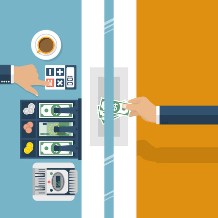 finance department: Cashier in bank. Worker bank, financial specialist, cash, currency exchange. Vector illustration, flat design style. Cashier window. Customer service bank. Cash register, money. Finance and money.