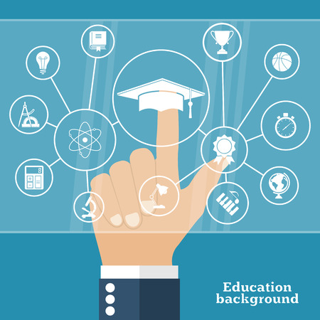 academic touch: Student points to the virtual touch screen keyboard on concept education. Modern computer technology. Vector illustration flat design style. Set of education icons. Online education, e-learning.