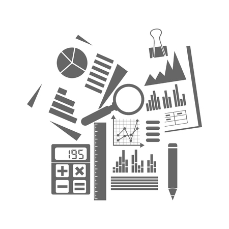 Financial accounting concept. organization process, analytics, research, budget planning, report, market analysis. Flat Style. Vector illustration. Financial accounting icon. Stock Illustratie