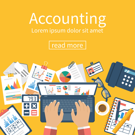 Accounting concept. Organization process, analytics, research, planning, report, market analysis. Flat style vector. Desk with the documents.