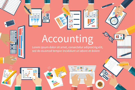 finance background: Accounting. Vector flat design. Teamwork on accounting, planning strategy, analysis, marketing research, financial management. Business meeting, teamwork, brainstorming. Team of businessmen in work.