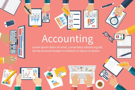 contabilidad financiera cuentas: Contabilidad. Vector de diseño plano. El trabajo en equipo en la contabilidad, estrategia de planificación, análisis, investigación de mercados, la gestión financiera. reunión de negocios, trabajo en equipo, de intercambio de ideas. Equipo de hombres de negocios en el trabajo.