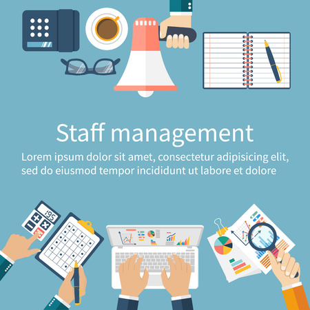 resource management: Staff management. Staff control and project management. Management concept. Vector illustration flat design style. Human resource management. Business situation. Team people with leadership.
