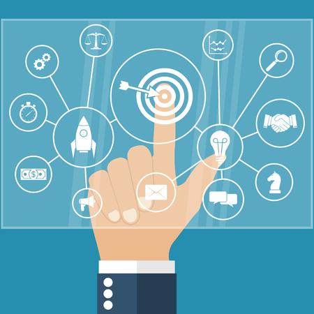 Zakenman wijst naar het virtuele toetsenbord op het aanraakscherm op het systeem van de business strategie concept. Moderne computertechnologie. Vector illustratie platte design stijl. Planning, analyse, opstarten.