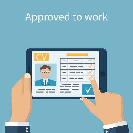 permit: Approved to work. Employer on the tablet looking resume. Job interview concept. Businessman estimates cv. Vector illustration in flat design. Human resources.