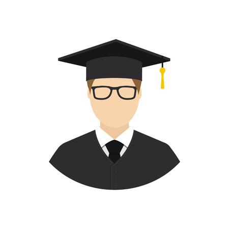academic robe: Graduate student. Avatar student. Student icon flat design style. Education graduation. Isolated student icon on a white background. Vector illustration. Web, application, printing. Illustration