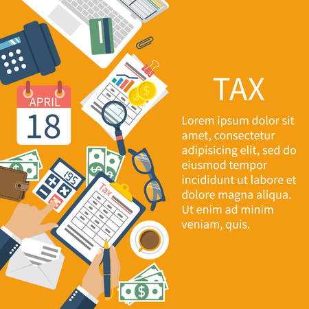 accounting design: Tax payment. Government taxes. State taxes. Data analysis, paperwork, financial research, report. Businessman calculation tax. Calculation of tax return. Flat design. Tax form vector. Payment of debt.