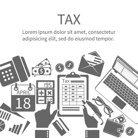paperwork: Tax payment. Government taxes. State taxes. Data analysis, paperwork, financial research, report. Businessman calculation tax. Calculation of tax return. Flat design. Tax form vector. Payment of debt.