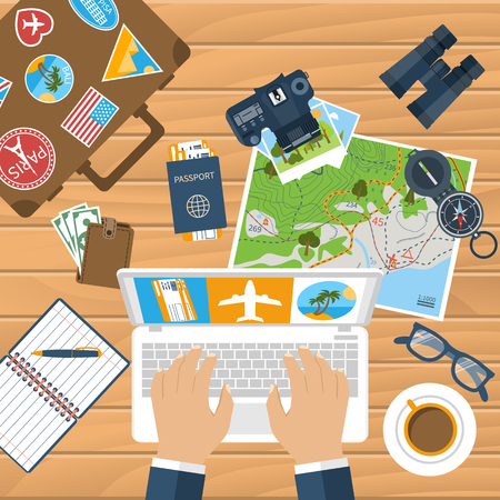 vacation time: Travel planning. Trip plan vector. Man with laptop planning vacation, search place for holiday, booking tickets. Desk with elements of travel. Banner travel. Flat design style. Vacation time, concept