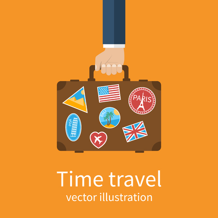 destinations: Travel suitcase in hand. Travel suitcase with stickers, popular destinations for a holiday. Man holds a suitcase in his hand. Time travel concept. Vector illustration flat design style. Illustration