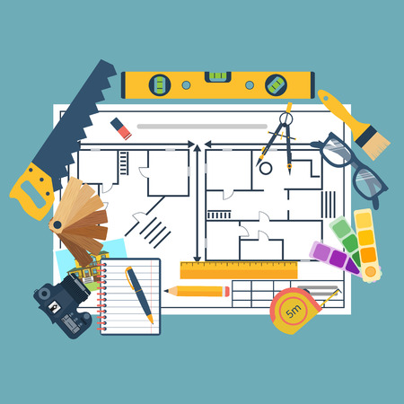 Remodeling plan, construction tools, wood samples of paint. Vector illustration, design flat. Improvement, construction, reconstruction. Architectural planning repair of house and apartments interior. Illustration