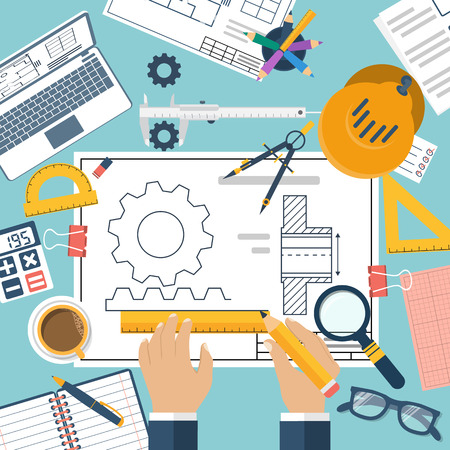 Engineer working on blueprint. Engineering drawing, technical scheme. Sketching gear, project. Engineer Designer in project. Drawings for production, engineering, manufacturing processes. Vector, flat