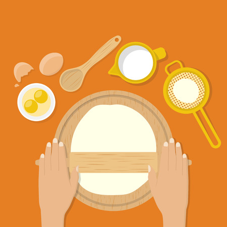 Woman's hands knead dough on table. Prepare the dough for pizza, pastry, cake, bread, pastry, pie. Vector illustration flat design style. Make dough. Cooking. Baker kneads dough. Rolling dough.