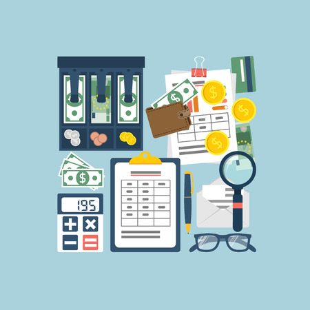 bookkeeper: Budget planning concept. Financial accounting. Organization process. Flat style vector. Personal finance. Payment of taxes. Finance planning.  Accounting money. Financial calculation. Management. Illustration