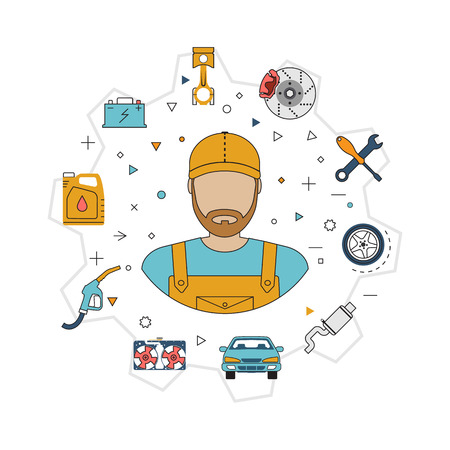 Car mechanic with flat icons tools and spare parts, concept. Repair machines, equipment. Car service concept. Vector illustration. Auto mechanic icon. Repair car flat design. Illustration