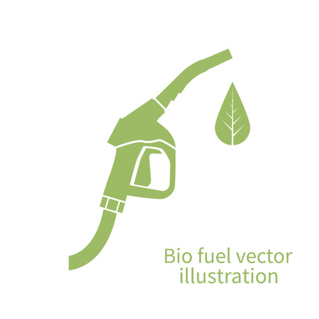 Bio fuel icon. Green eco fuel pump. Petrol station sign. Vector illustration. Ecological fuel concept. Gas station sign, logo. Sign of fuel pump with a green leaf. Eco fuel. Green, eco fuel.