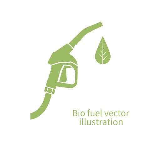 Icono de combustible bio. bomba de combustible verde del eco. Muestra de la estación de gasolina. Ilustración del vector. concepto de combustible ecológico. Muestra de la gasolinera, logotipo. Signo de la bomba de combustible con una hoja verde. De combustible ecológico. Verde, respetuoso del combustible. Logos