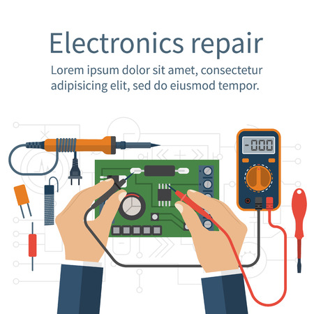 electronic: Electronics repair. Tester checking. Multimeter in hands of man. Calibration, diagnostics, maintenance, electronics repair and computer electronics. Vector flat design style. Service center, workshop. Illustration