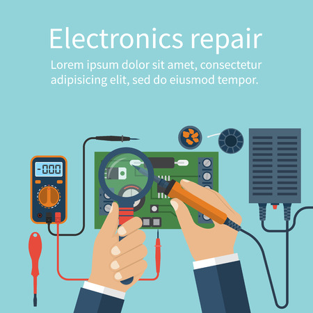 Iron Man: Electronics repair. Tech repairs. Service center. Soldering of electronic parts on board. Soldering iron in hand man. Solderer, engineer. Repair of electronics in workshop. Vector flat design style.