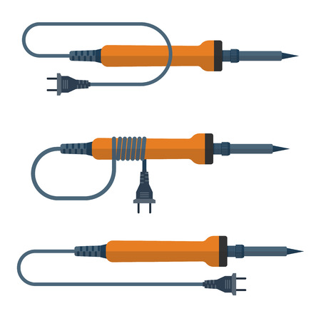 electronic: Soldering iron, vector illustration, flat design. A set of soldering iron. Tool electronics engineer, electrician, engineer. Soldering iron isolated on white background. Electronic equipment.