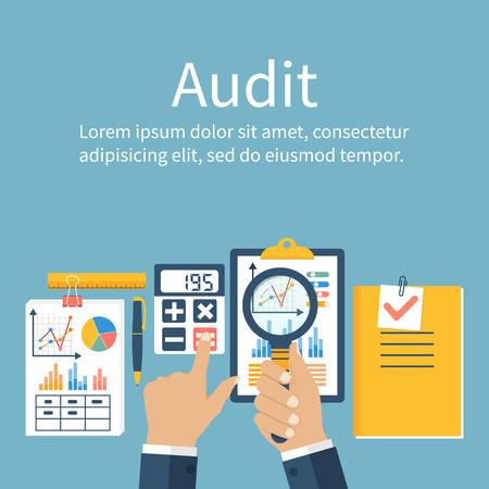 Auditing concepten. Auditor aan tafel tijdens het onderzoek van financieel verslag. Financiële audit. Auditing fiscale proces. Onderzoek, project management, planning, accounting, analyse, data. Vector vlakke stijl