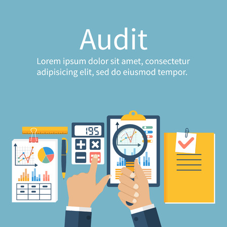 Auditing concepts. Auditor at table during examination of financial report. Financial audit. Auditing tax process. Research, project management, planning, accounting, analysis, data. Vector flat style Иллюстрация