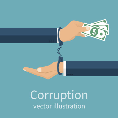 Handcuffs on hands during business corrupt deal. Anti corruption concept. Stop corruption. Vector illustration, flat design style. Bribery vector. Corruption icon.