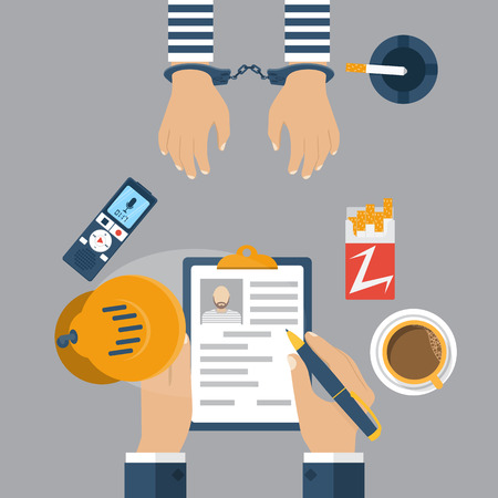 prisoner: Police detective interrogating a prisoner in handcuffs. Investigation. Cop interrogating a prisoner, record the conversation on dictaphone. Vector illustration,  flat style. Illustration