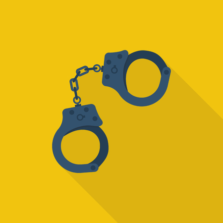 burglar: Handcuffs icon. Handcuffs cartoon icon. Vector illustration. Flat design style. Handcuffs isolated with long shadow. Arrest symbol. Jail icon. Punishment for crime. Law justice.