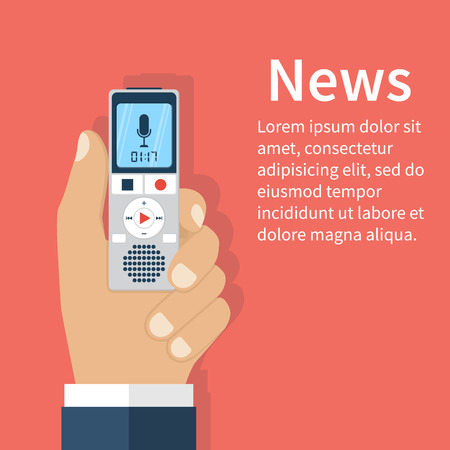 Journalist holds dictaphone, recorder. Journalism concept . Live news template. Interview,  news, reporter, press, isolated, interviewer, media, paparazzi. Vector illustration. Flat design.