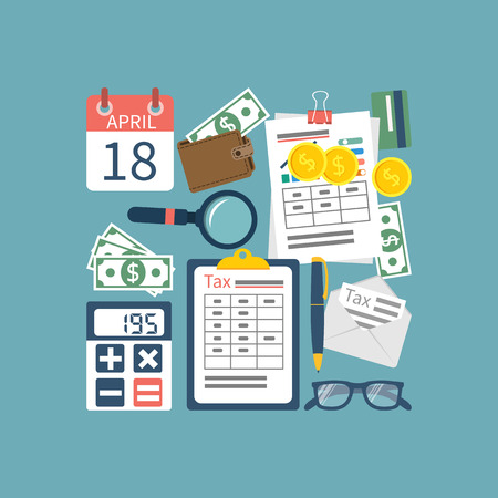 Tax icon vector. Tax payment. Government taxes. State taxes. Data analysis, paperwork, financial research, report. Calculation of tax return. Tax form. Flat design. Tax form vector. Payment of debt. Stock Illustratie