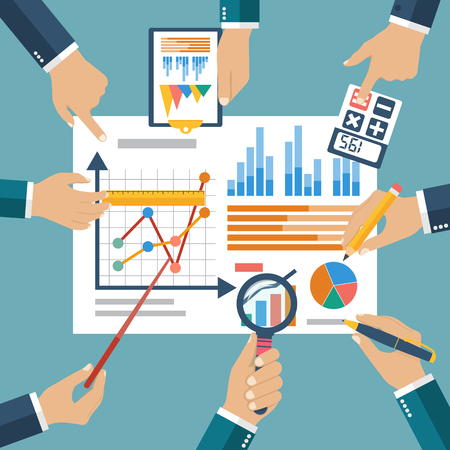Finance report, concept flat style vector. Financial management, profit, strategy, investments planning, financial audit,  financial research, data analysis, marketing research, consultant, analytics