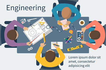 discussing: Team engineers at table. People at table discussing the engineering project. Drawing tools. Training, conferences, meetings. Teamwork creative people. Development of engineering projects. Vector, flat