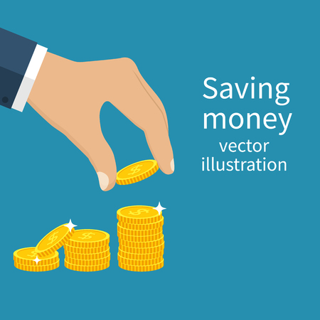 putting green: Coin in hand. Finance growth. Golden coins. Vector illustration Flat design style. Saving money. Concept investment. Saving cash.