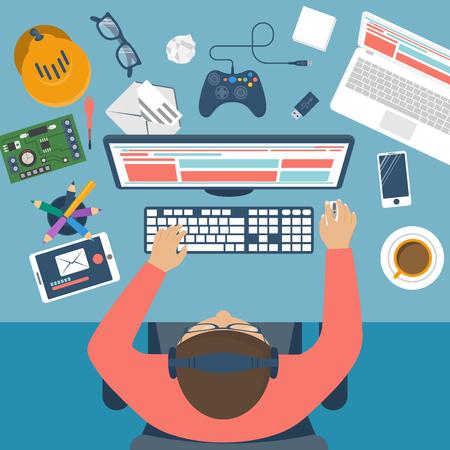 Programmer at desk. Workplace programmer, player, programmer, geek, gamer. Flat design vector illustration. Modern computer technology and gadgets.