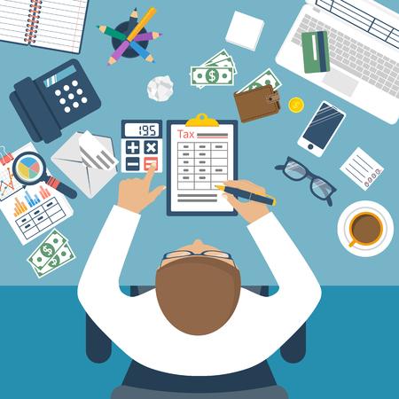 納税。政府は税金。州税。データ解析、書類、財務調査、報告。計算税の実業家です。確定申告の計算。フラットなデザイン。税務フォームのベクトル。借金の支払い。
