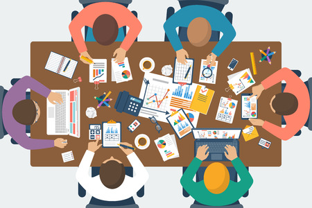 Project management concept. Business team work on projects. Brainstorming. Business meeting, planning strategy, analysis, marketing research, financial management. Flat design, vector.