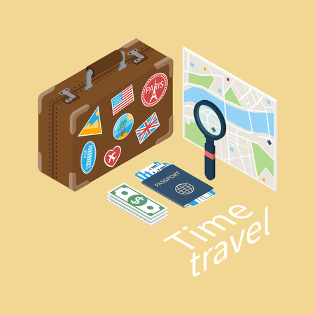 travel bag: Isometric design style. Vector illustration vacation, trip, travel, tourism, journey. Tourism and journey objects: travel suitcase, luggage, passport, tickets, money, a map with a magnifying glass.