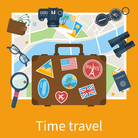 Abstract vector illustration with set of icons traveler objects for tourism. Flat design style. Tourism, travel objects: map, compass, camera, suitcase, tickets, passport, binoculars. Travel concept.