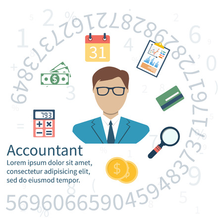 bookkeeper: Accountant, businessman. Set icons flat design. Concept of accounting and calculation. Vector illustration. Man working with finances, reports, statistical, analysis, calculation of profit, income. Illustration