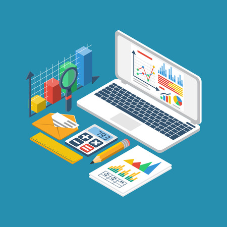 Financial accounting concept. Organization process, analytics, research, business report, financial statistic, management. 3d isometric design style vector. Laptop, graphic, documents, chart