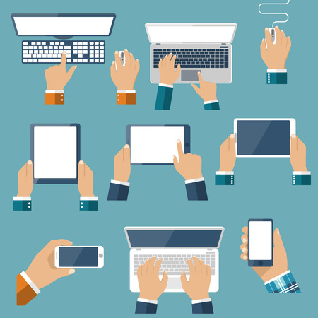 Hand hold devices electronics. Set computer devices in hand man. Laptop, tablet, smartphone, mobile phone, computer, keyboard, mouse. Vector flat design. Icon technology device in hand. Gadget hands.